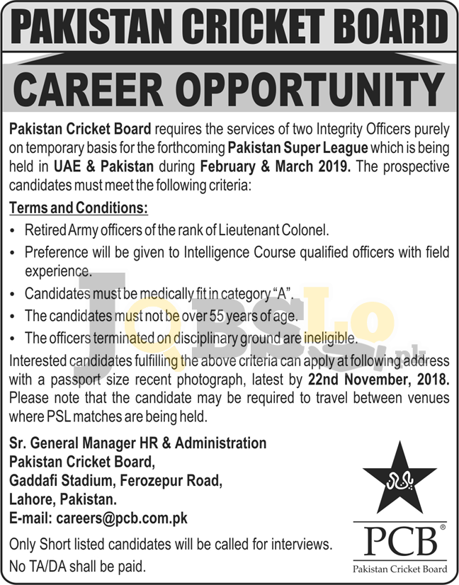 PCB Jobs 2018 Lahore Pakistan Cricket Board Current Opportunities