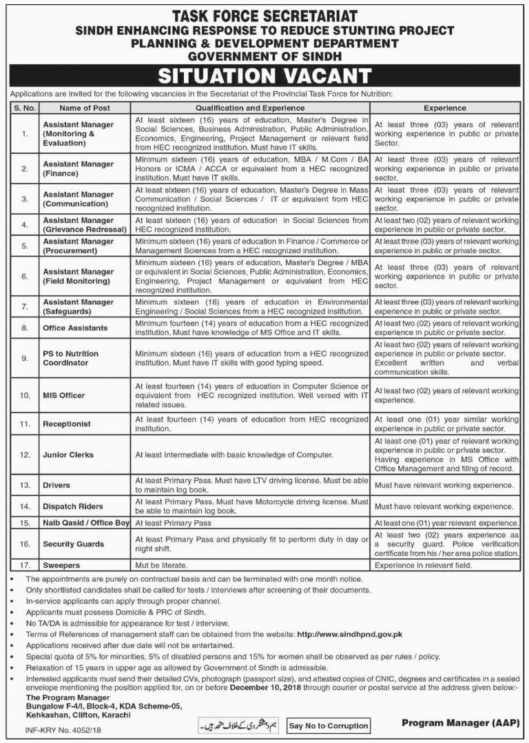 Planning & Development Department Govt of Sindh Jobs 2018 Latest Recruitment