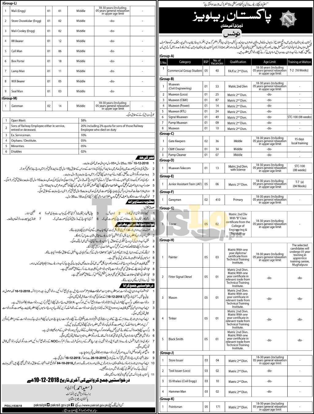 Pakistan Railway Multan Jobs 2018 Application Form BPS-05 to BPS-01