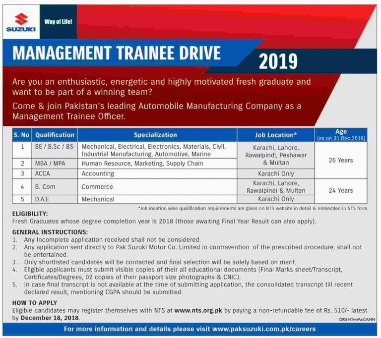 Pak Suzuki Motors Karachi Jobs 2018 NTS Online Registration Latest