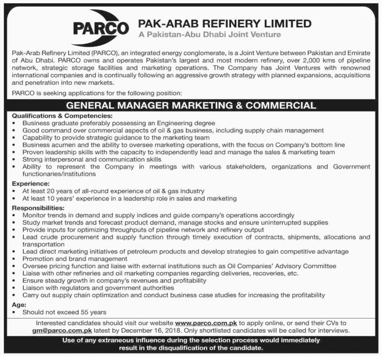 PARCO Jobs 2018 Apply Online For General Manager Marketing & Commercial