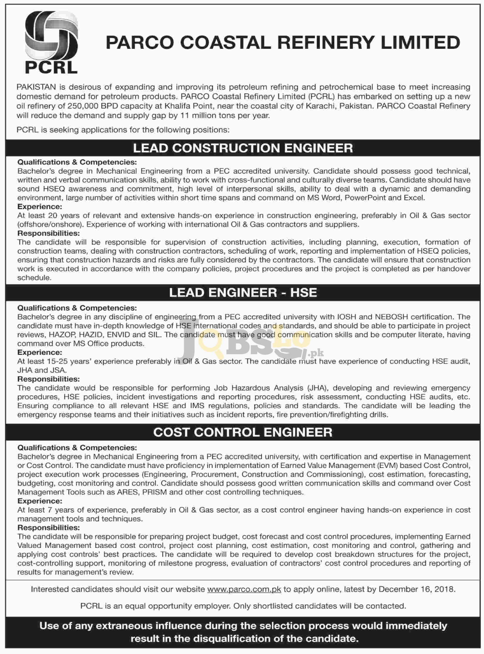 PARCO Coastal Refinery Limited Jobs 2018 Apply Online Current Openings