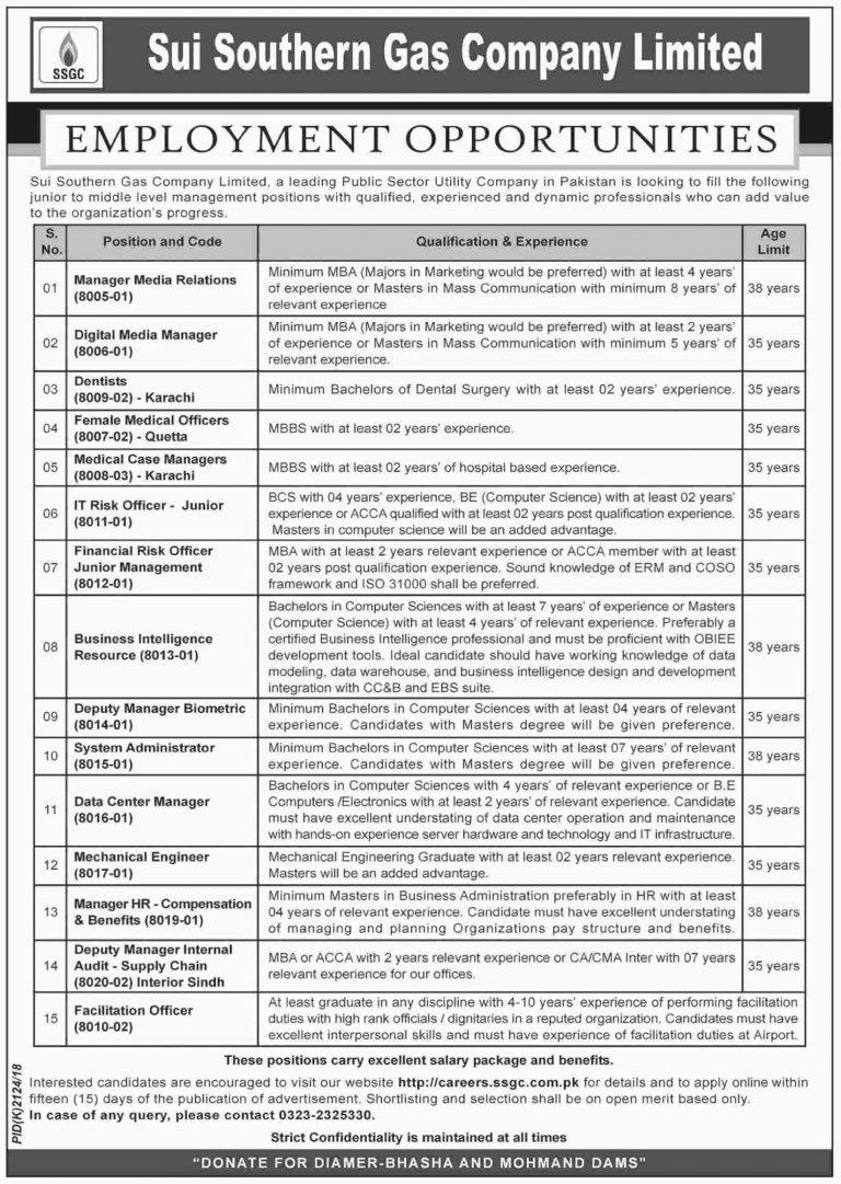Sui Southern Gas Company SSGC Jobs 2018 Karachi Apply Online Latest Advertisement