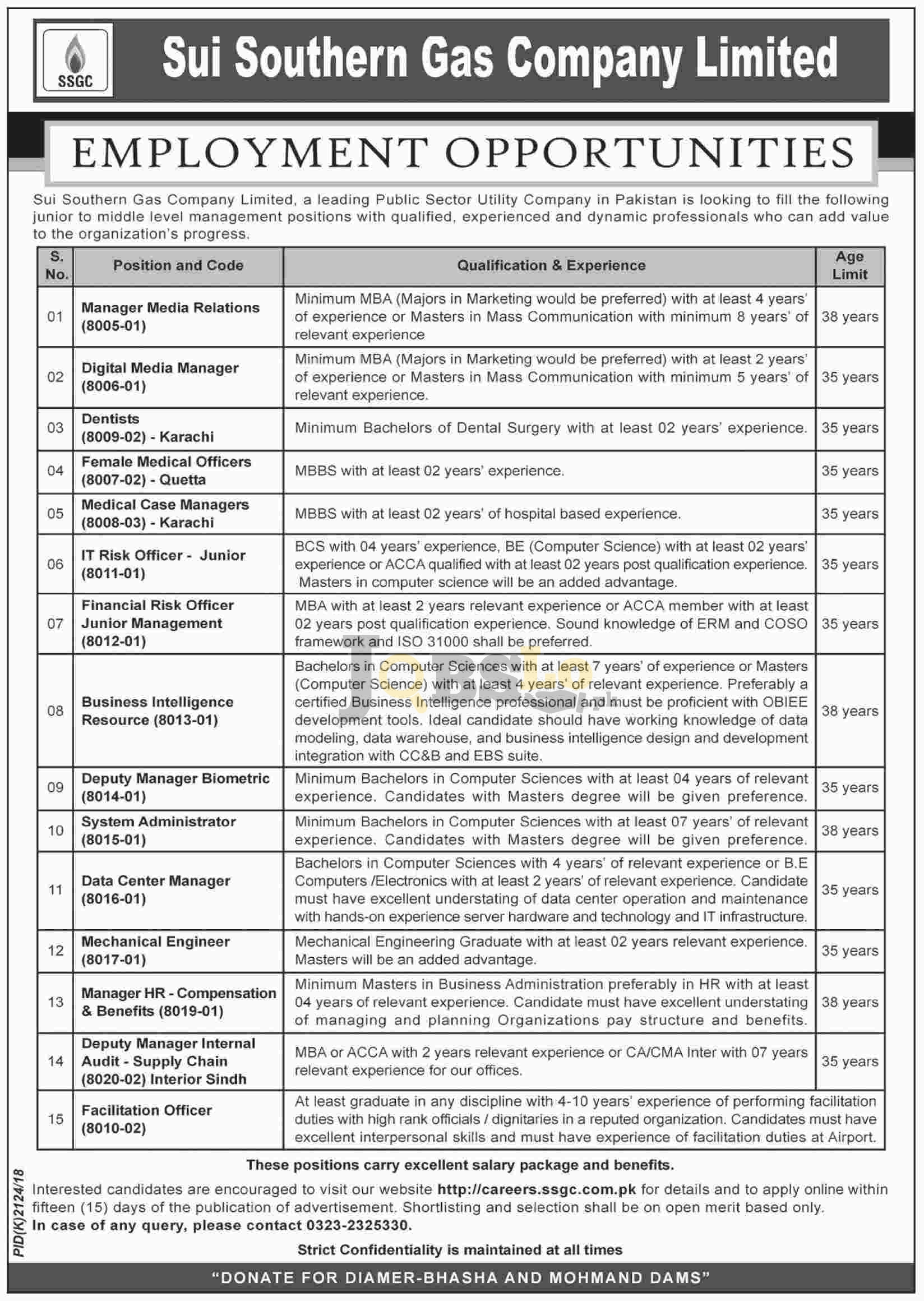 Sui Southern Gas Company SSGC Jobs 2018 Karachi Apply Online Latest Advertisement