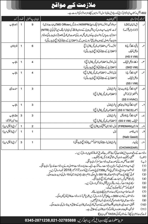 602 Regional Workshop EME Karachi Jobs 2018 Pakistan Army Civilian