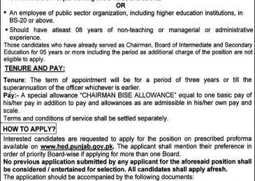 Higher Education Department Punjab Jobs 2018 Application Form Download