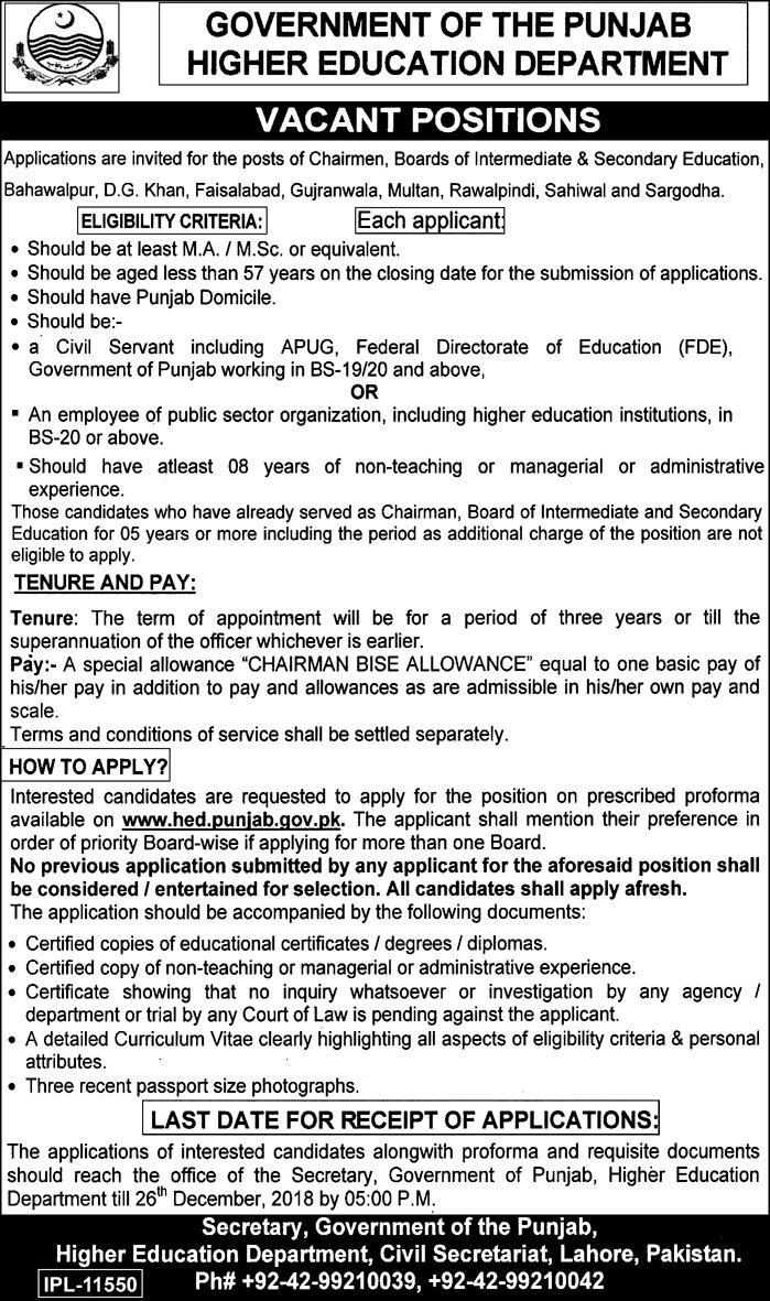 Higher Education Department Punjab Jobs 2018 Application Form Download
