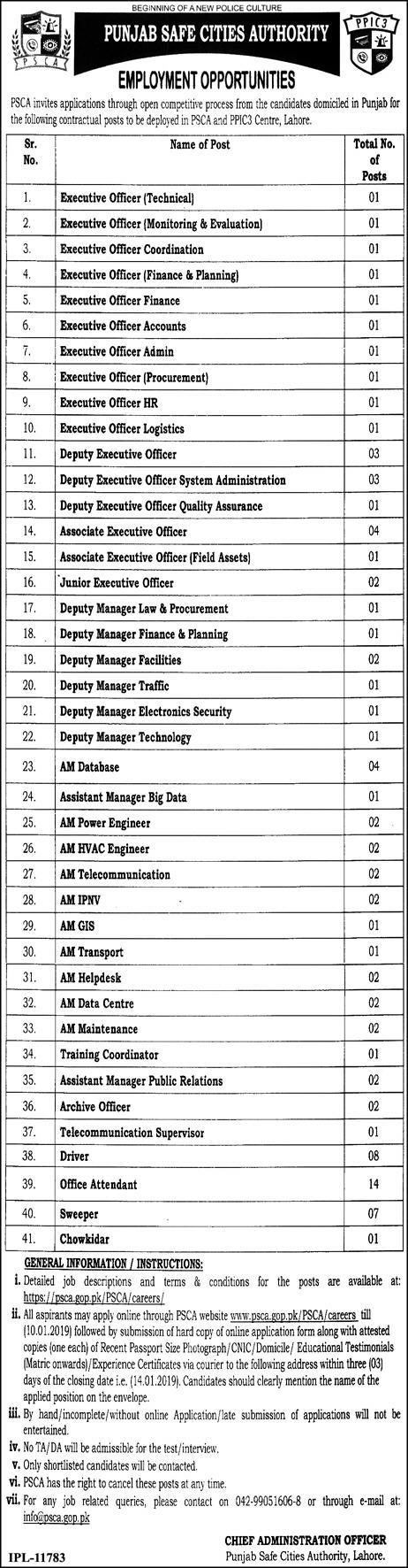 Punjab Safe City Authority PSCA Jobs 2019 Lahore Apply Online