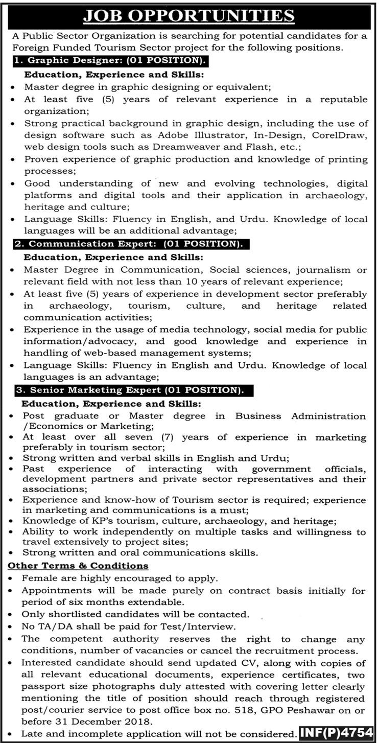 Govt KPK Jobs 2018 PO Box 518 Peshawar | Public Sector Organization