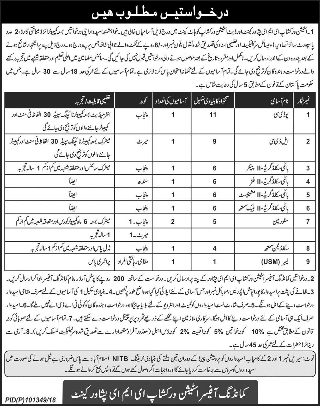 Station Workshop EME Peshawar Jobs 2018 Current Vacancies