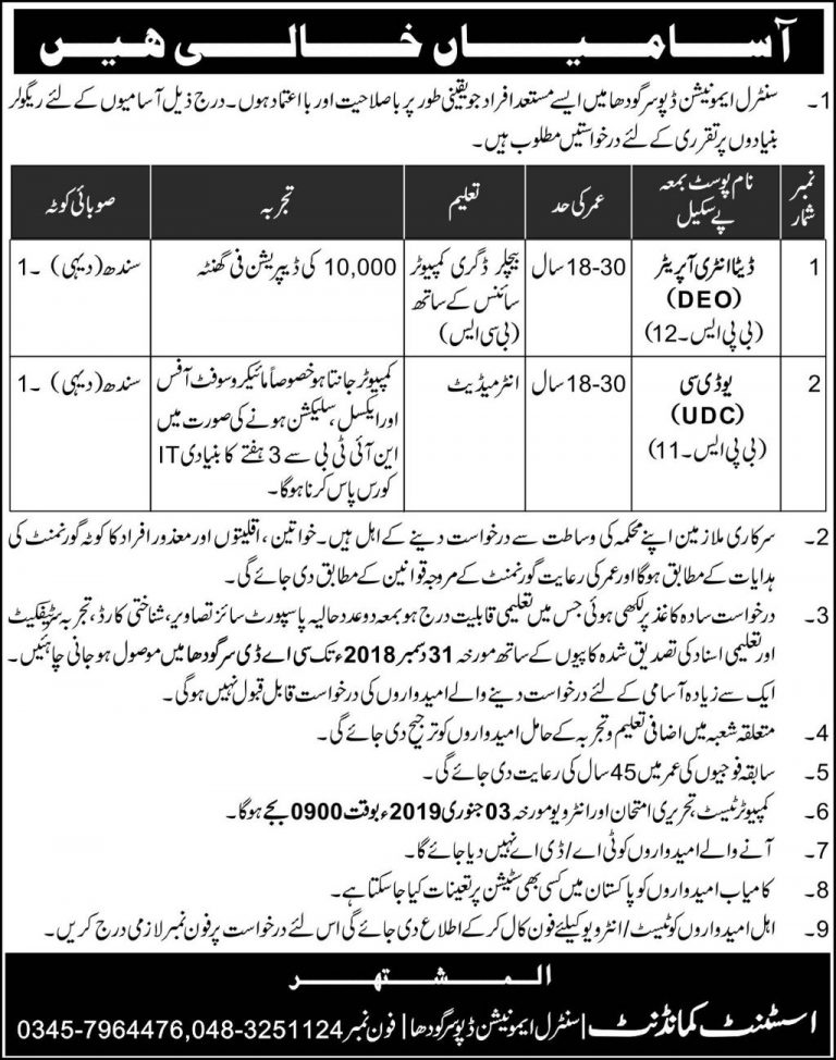 CAD Sargodha Jobs 2018 Pak Army Central Ammunition Depot Latest