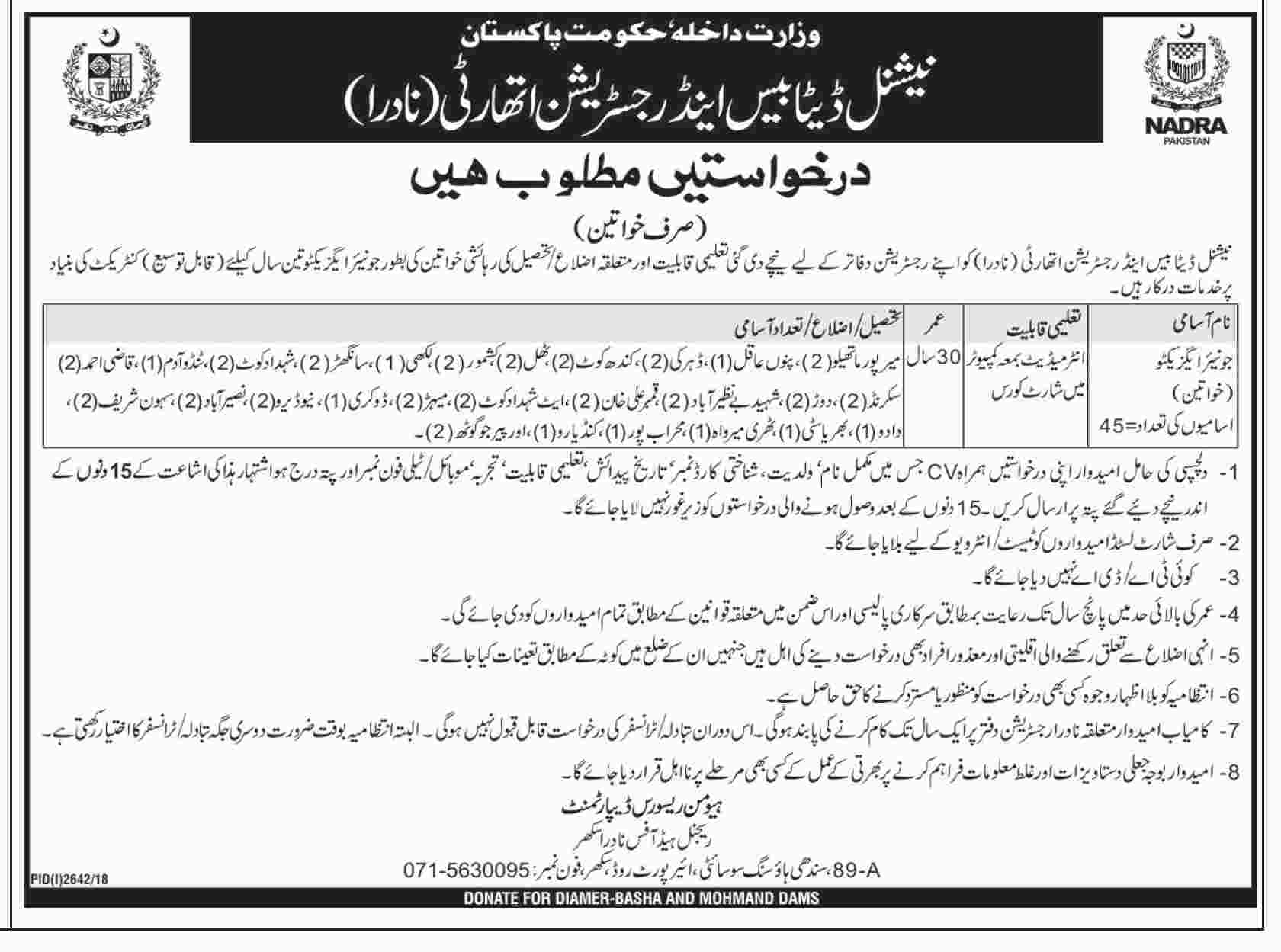 NADRA Sukkur Jobs 2018 National Database & Registration Authority Latest
