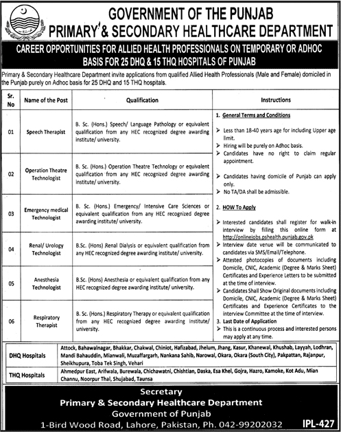 Primary & Secondary Healthcare Department Jobs 2019 DHQ/THQ Hospitals Apply Online