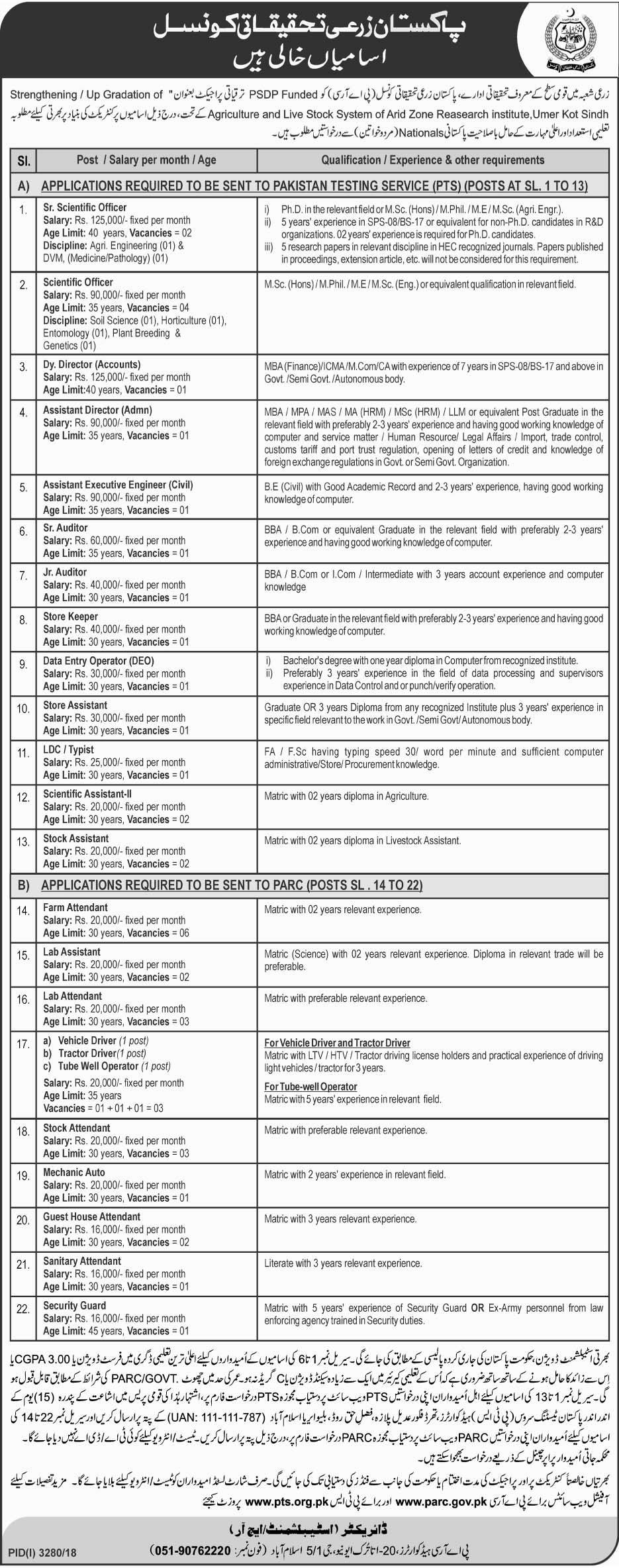 PARC Jobs 2019 PTS Application Form Download | www.parc.com.pk