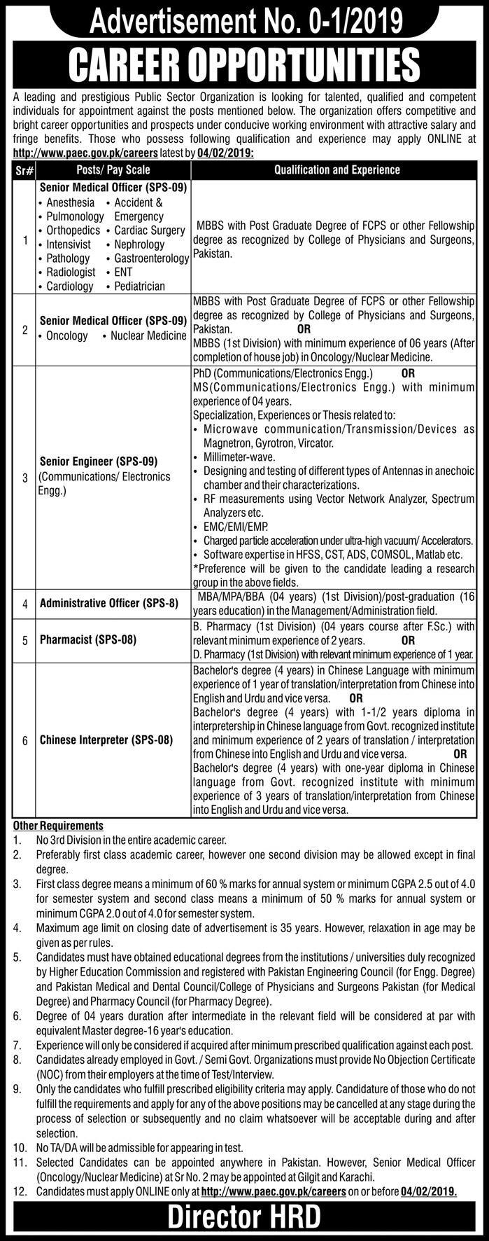PAEC Jobs 2019 Apply Online For Medical Officers | www.paec.gov.pk