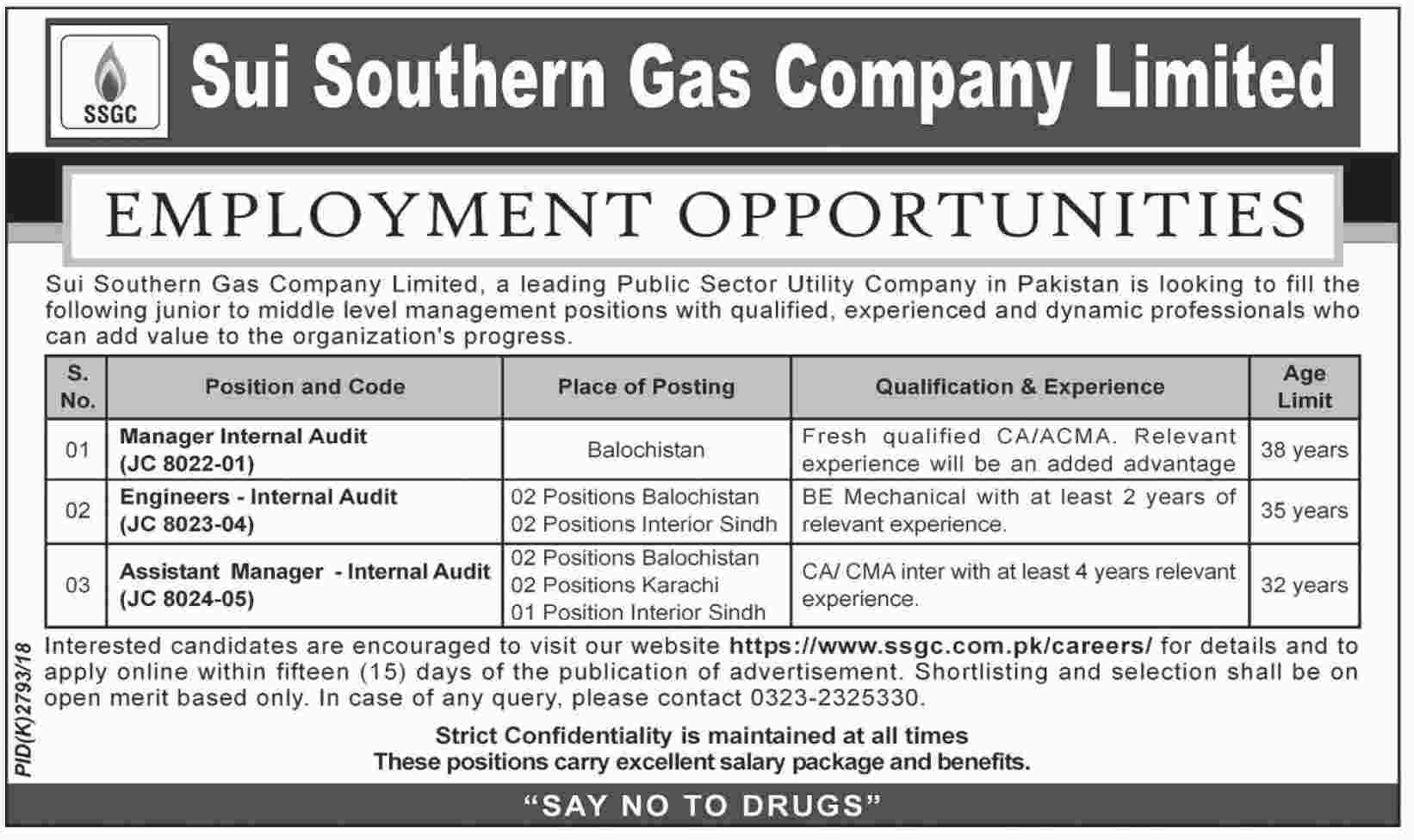 Sui Gas SSGC Jobs January 2019 Apply Online Career Opportunities