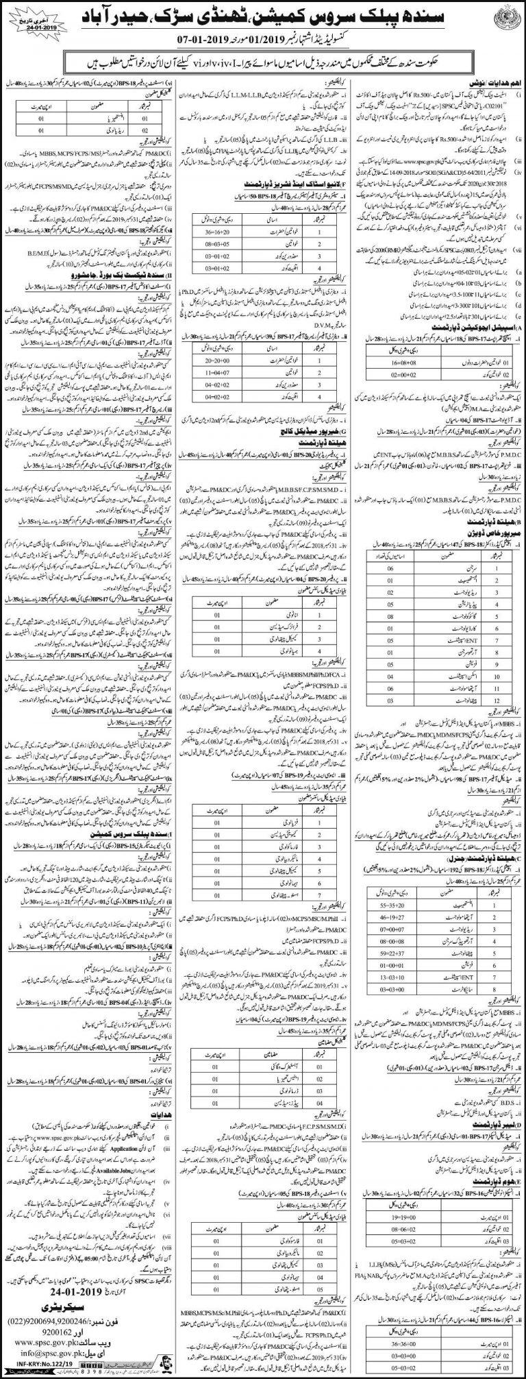 SPSC Jobs 2019 Apply Online Sindh Public Service Commission www.spsc.gov.pk