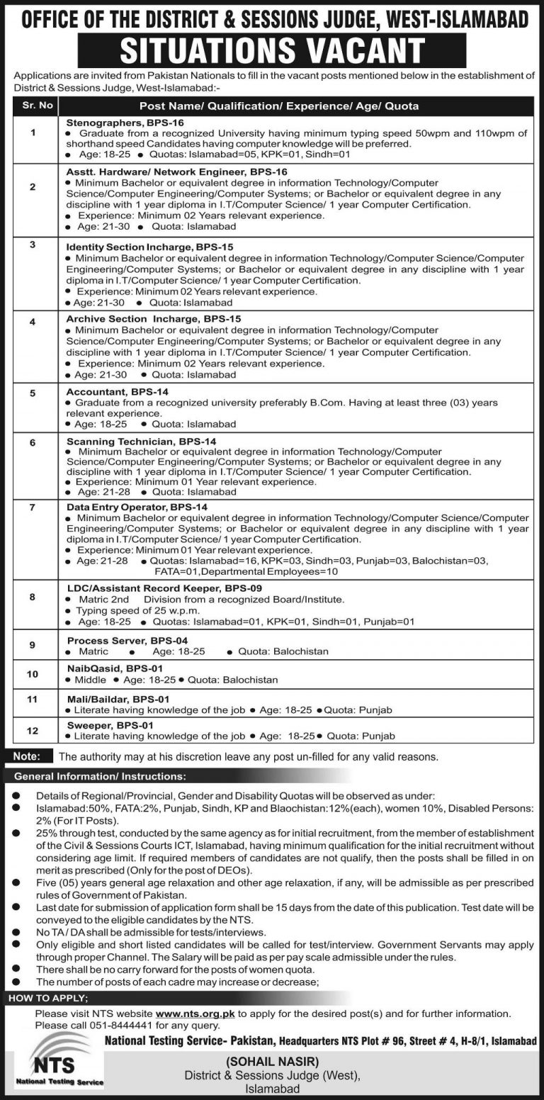 District & Session Judge Jobs 2019 West Islamabad NTS Application Form