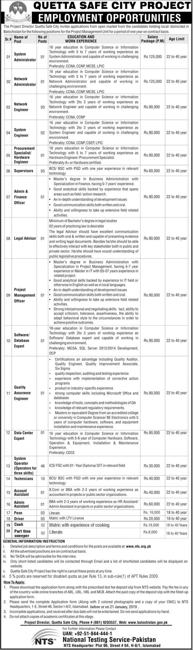 Quetta Safe City Project Jobs 2019 NTS Application Form Download