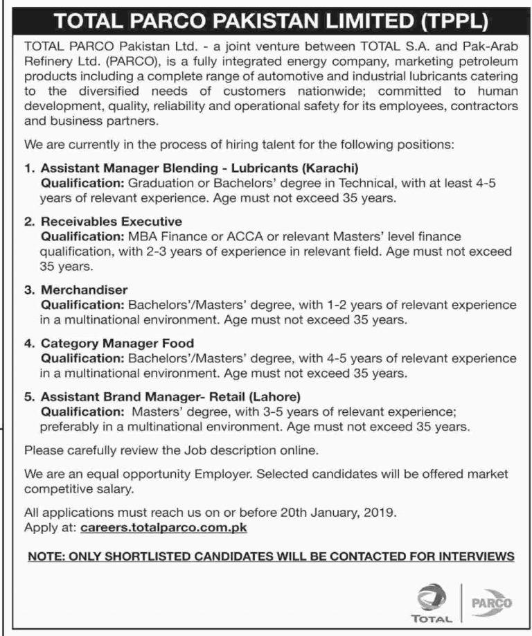Total Parco Pakistan Ltd TPPL Jobs 2019 Application Form | www.careers.totalparco.com.pk