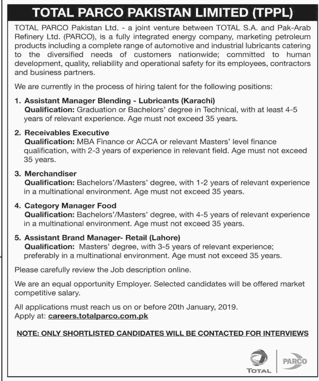Total Parco Pakistan Ltd TPPL Jobs 2019 Application Form | www.careers.totalparco.com.pk