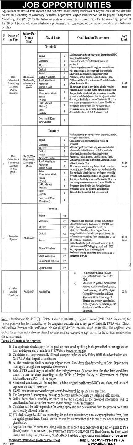 PTS Jobs 2019 in KPK Application Form | Elementary and Secondary Education Department