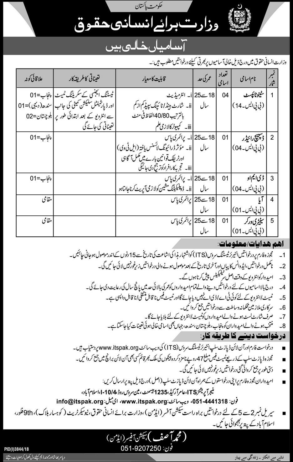 ITS Jobs 2019 Application Form | Ministry of Human Rights Govt of Pakistan
