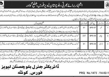 Balochistan Levies Force Jobs 2019 Quetta Latest Advertisement