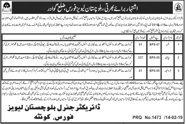 Balochistan Levies Force Jobs 2019 Quetta Latest Advertisement