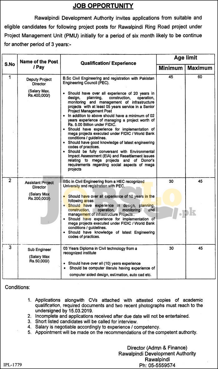Rawalpindi Development Authority RDA Jobs 2019 Latest Career Vacancies