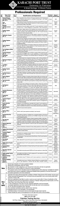 Karachi Port Trust KPT Jobs 2019 PTS Application Form Download