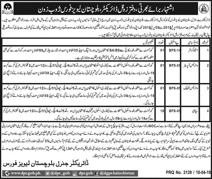 Balochistan Levies Force Jobs 2019 in Pakistan Latest Advertisement