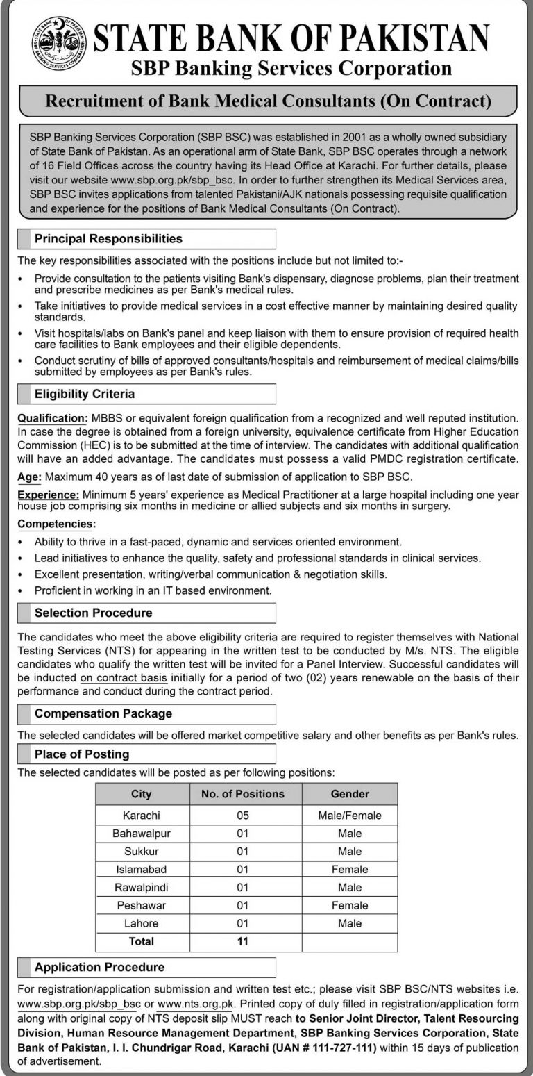 State Bank of Pakistan SBP Jobs 2019 NTS Application Form Latest