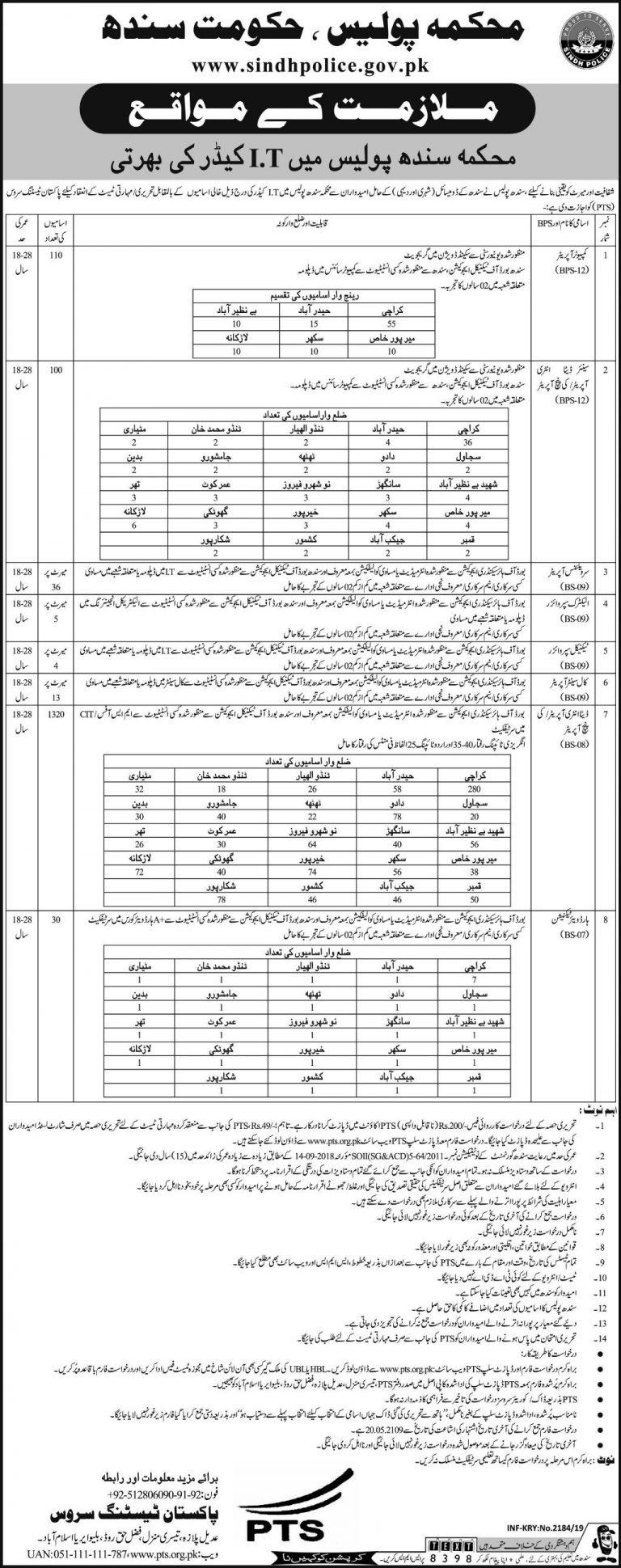 Sindh Police Jobs 2019 Karachi PTS Application Form Download Latest