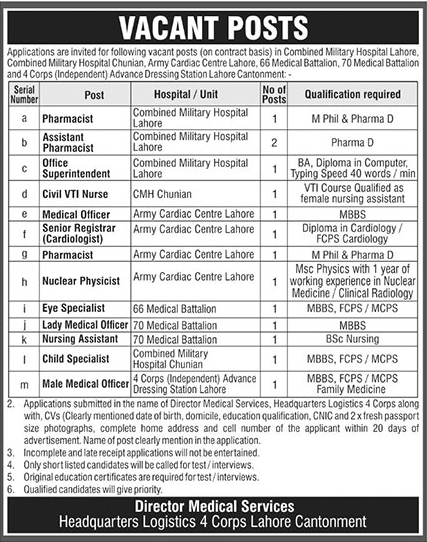 Combined Military Hospital CMH Lahore Jobs 2019 Latest Advertisement