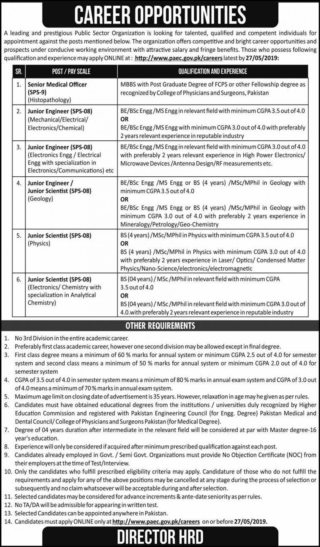PAEC Atomic Energy Jobs 2019 Application Form Latest Vacancies