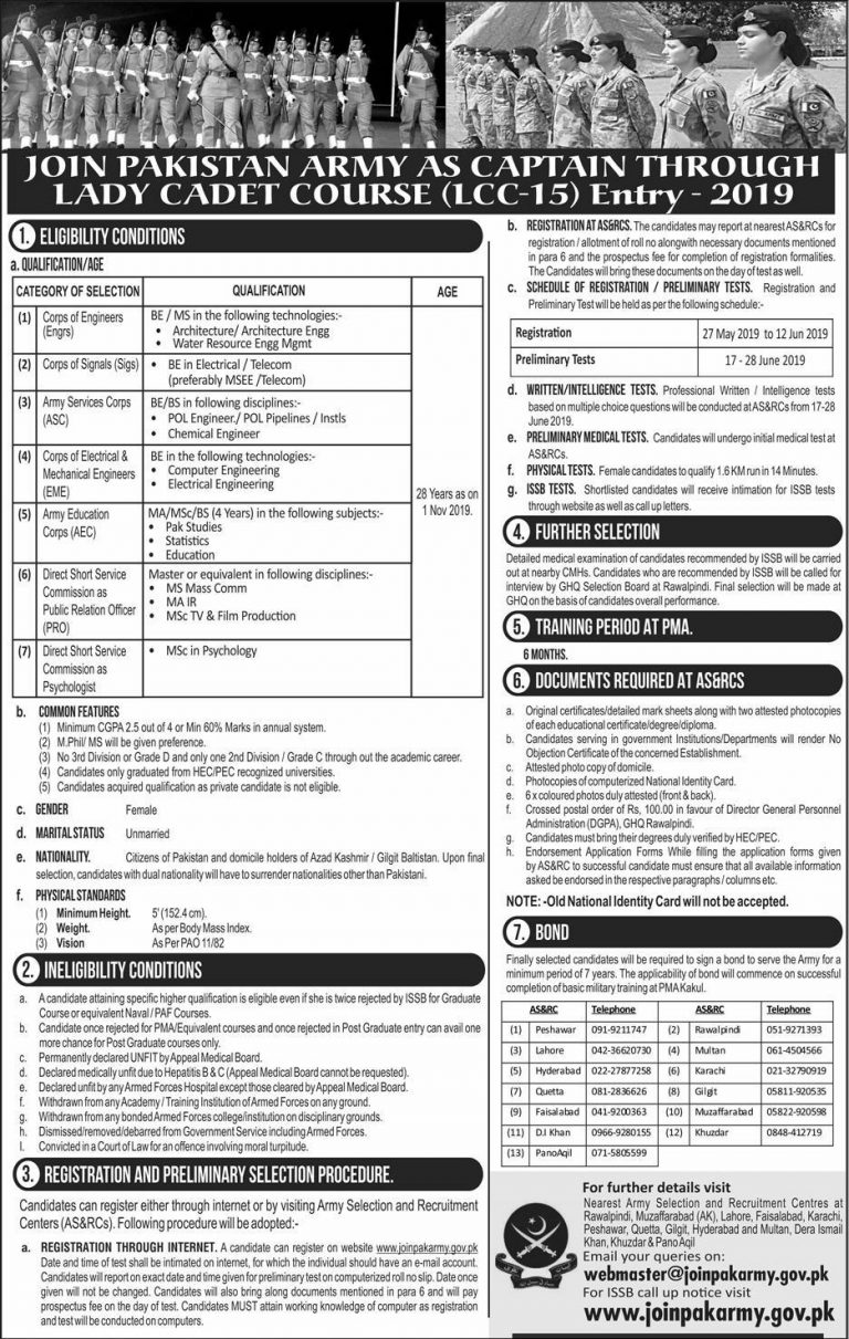 Join Pak Army as Lady Cadet Course 2019 Captain LCC-15 Online Registration Latest