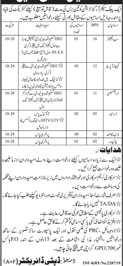 Public Sector Organization Jobs 2019 in Karachi Latest Advertisement