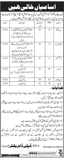 Public Sector Organization Jobs 2019 in Karachi Latest Advertisement