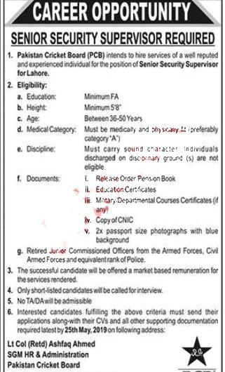 PCB 2019   Pakistan Cricket Board Latest Opportunities