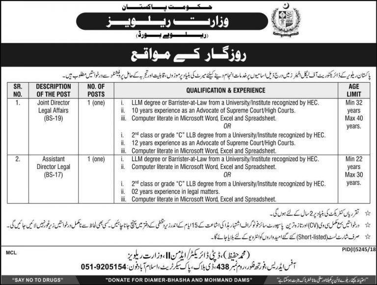 Ministry of Railways Jobs 2019 Govt of Pakistan Last Date