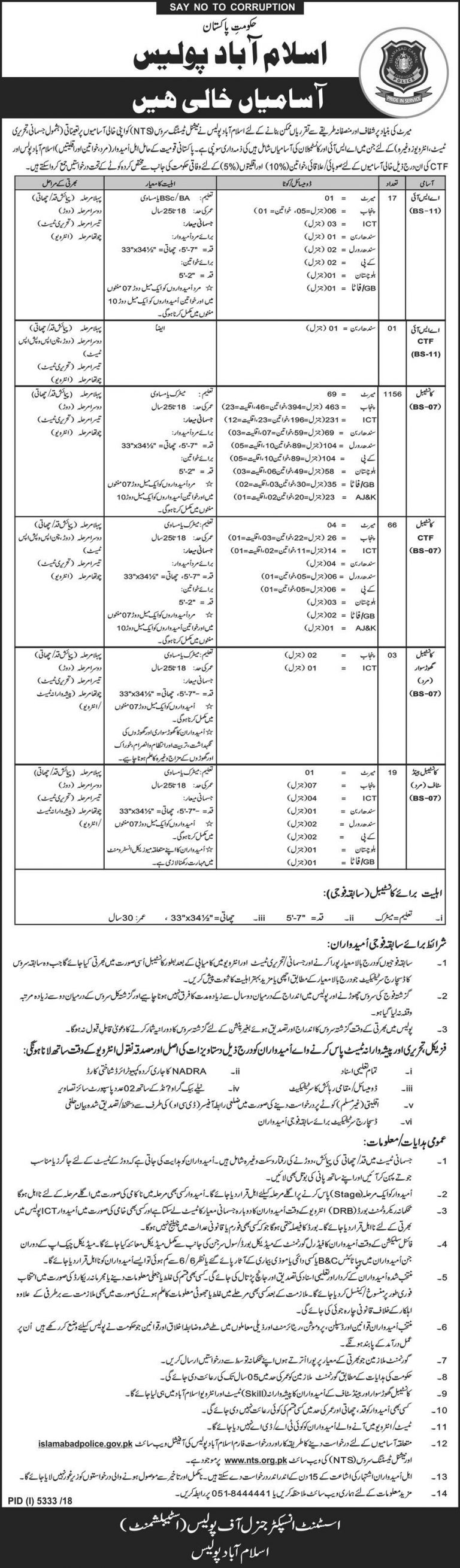 Islamabad Police Jobs 2019 Constable NTS Application Form Download last Date