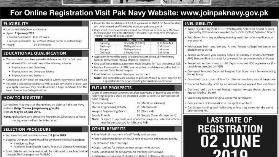 www.joinpaknavy.gov.pk 2019 Online Registration Last Date | PN Cadet for Permanent Commission