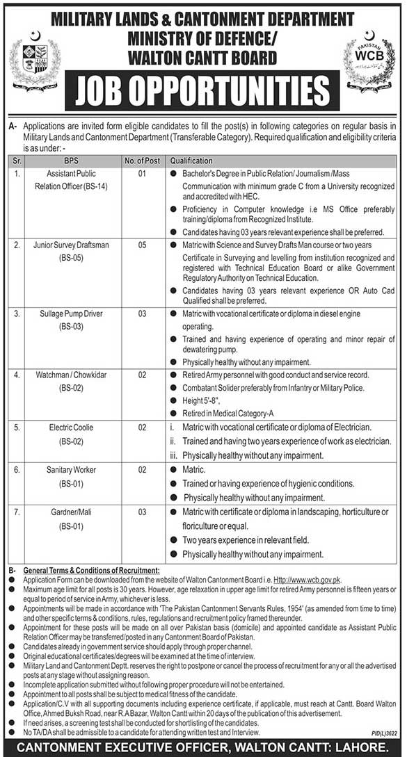 Military Lands & Cantonment Department Jobs May 2019 Ministry of Defence Latest