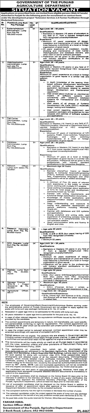 Agriculture Department Punjab Jobs 2019 Application Form Download Last Date