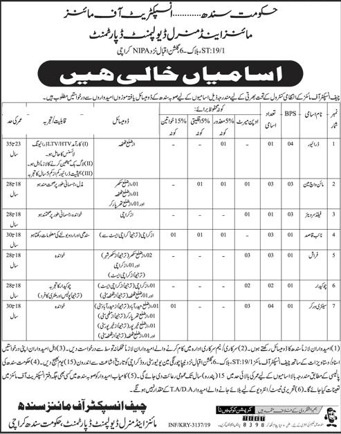 Mines & Mineral Development Department Govt of Sindh Jobs June 2019 Latest Advertisement