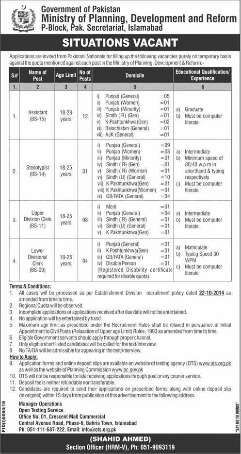 Ministry of Planning Development & Reform Islamabad Jobs 2019 OTS Application Form Download