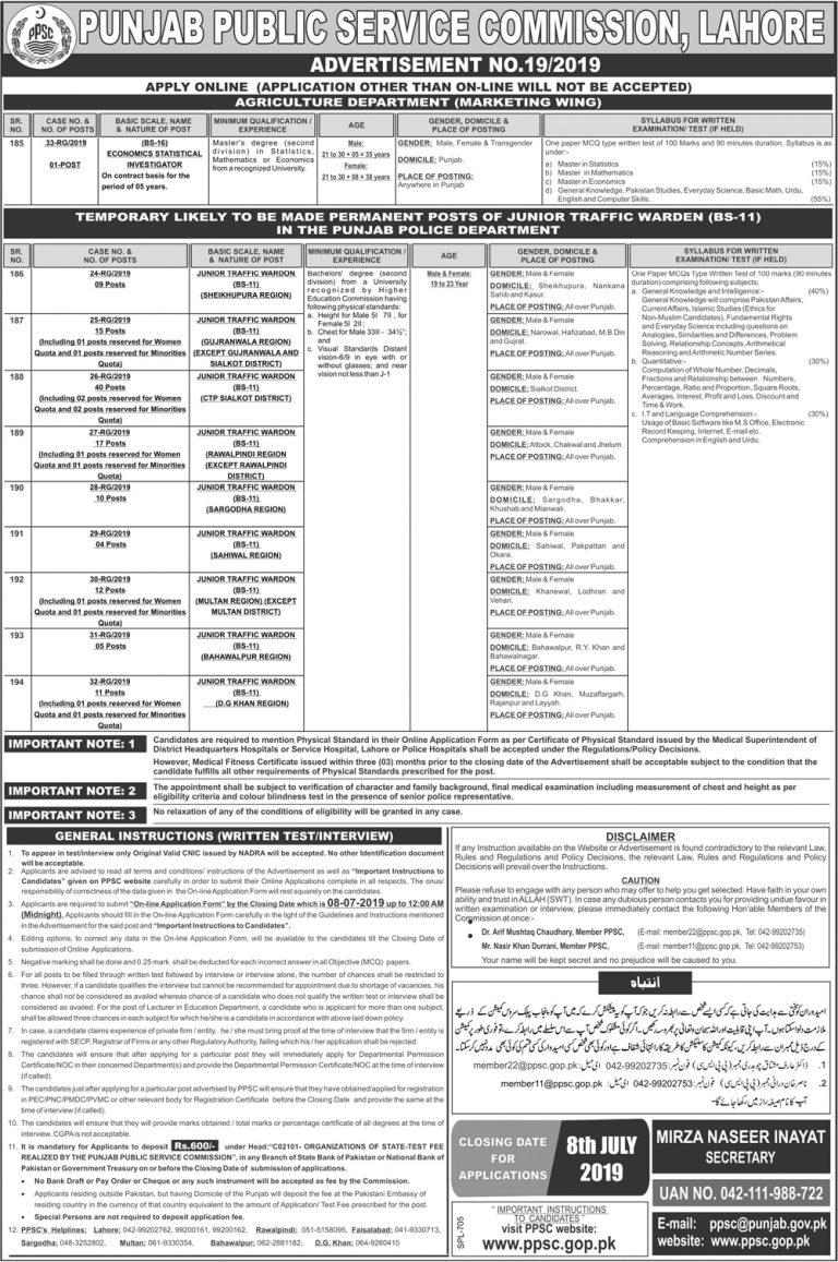 Junior Traffic Warden Jobs 2019 in Punjab Police Department Apply Online | ppsc.gop.pk
