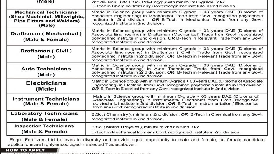Engro Apprenticeship Application Form Download 2019 nts.org.pk