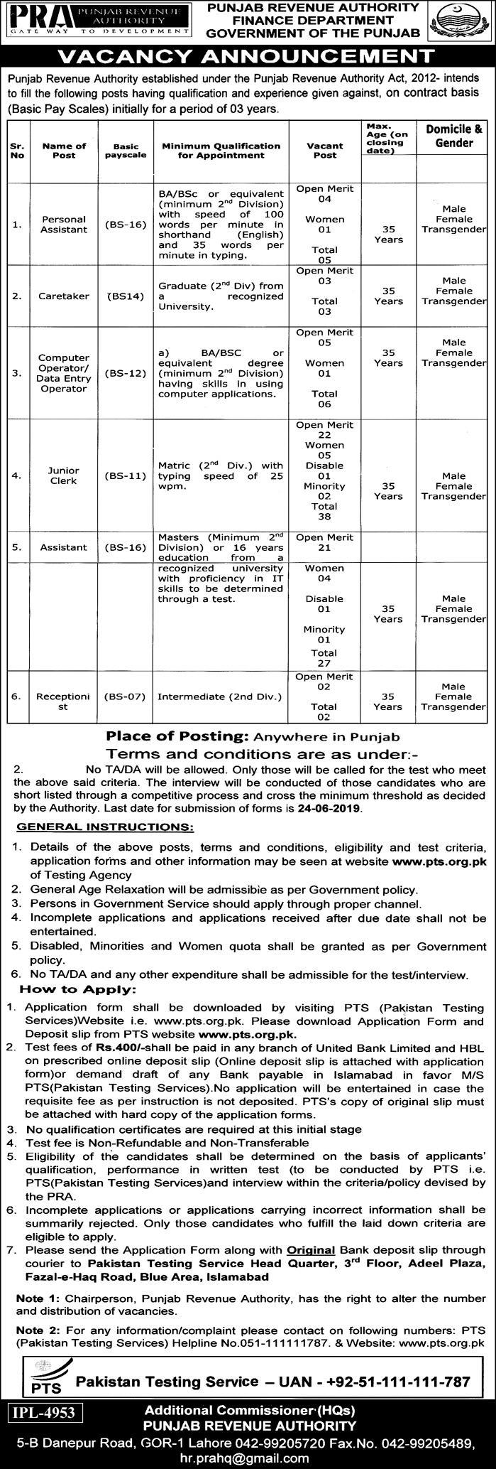 Punjab Revenue Authority PRA Jobs 2019 PTS Application Form Download
